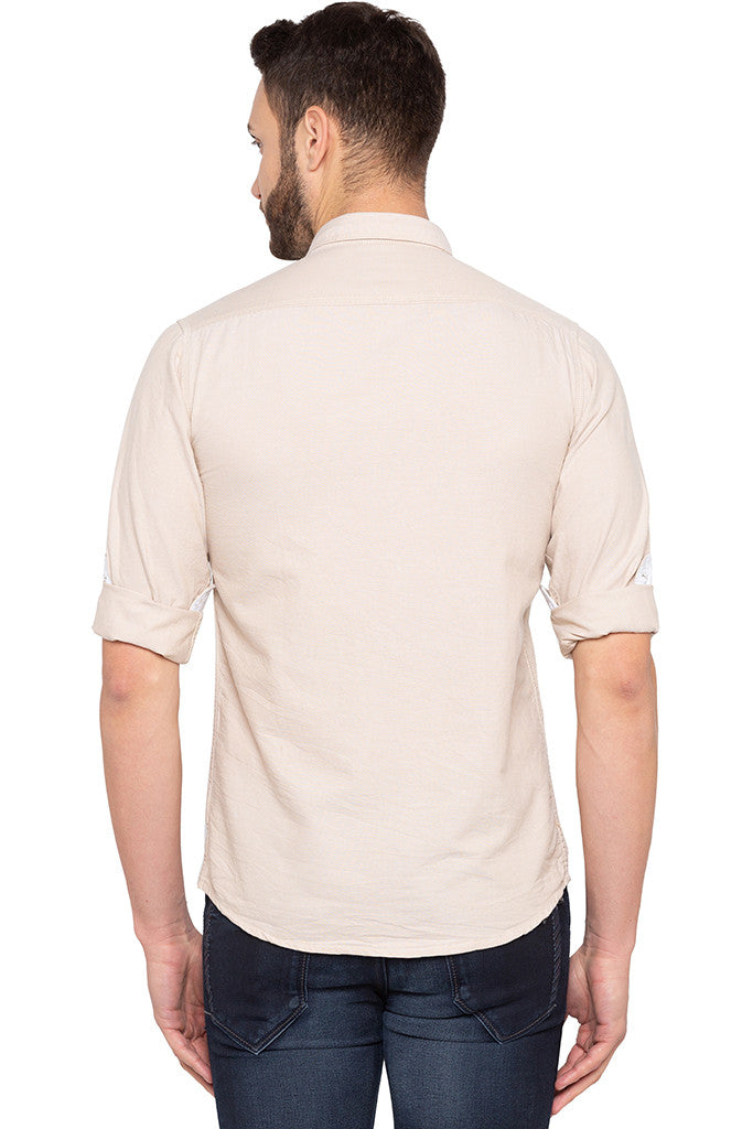 Slim Fit Solid Beige Shirt-3