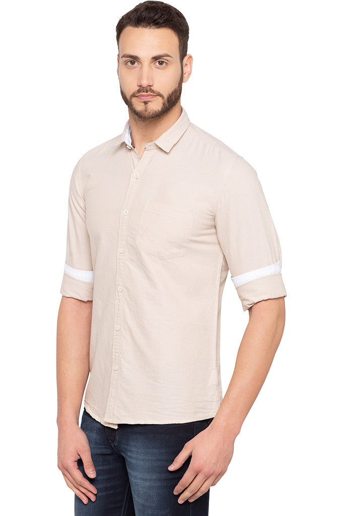 Slim Fit Solid Beige Shirt-4