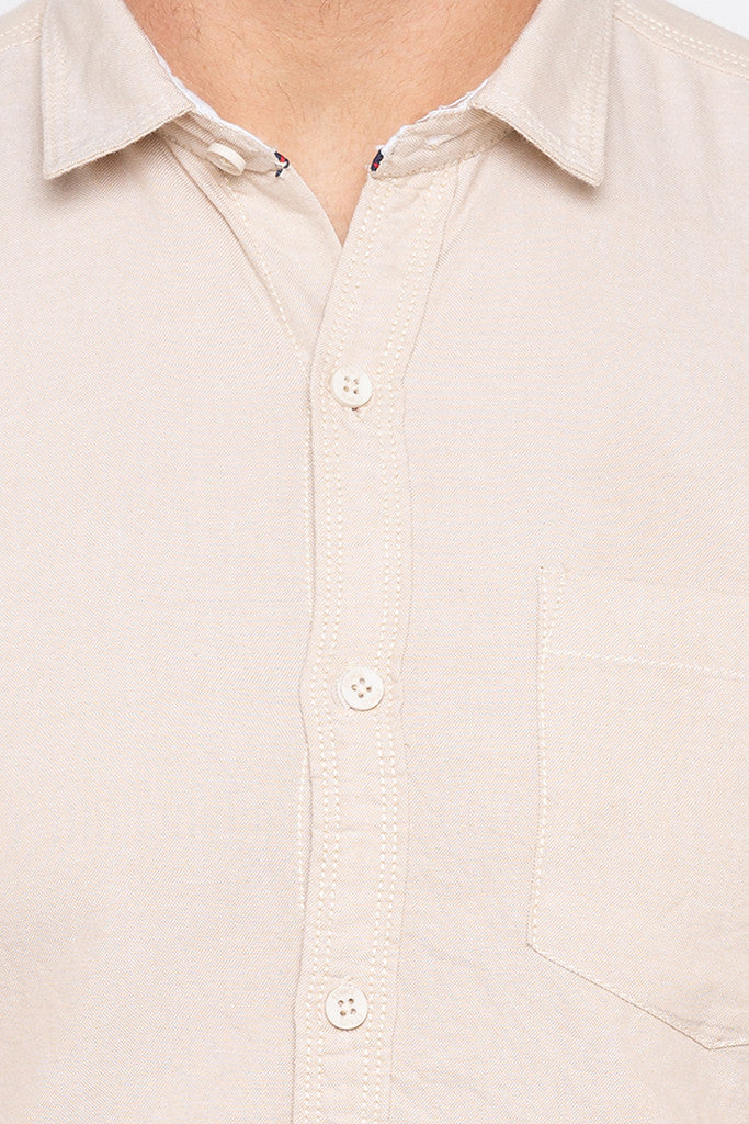 Slim Fit Solid Beige Shirt-5