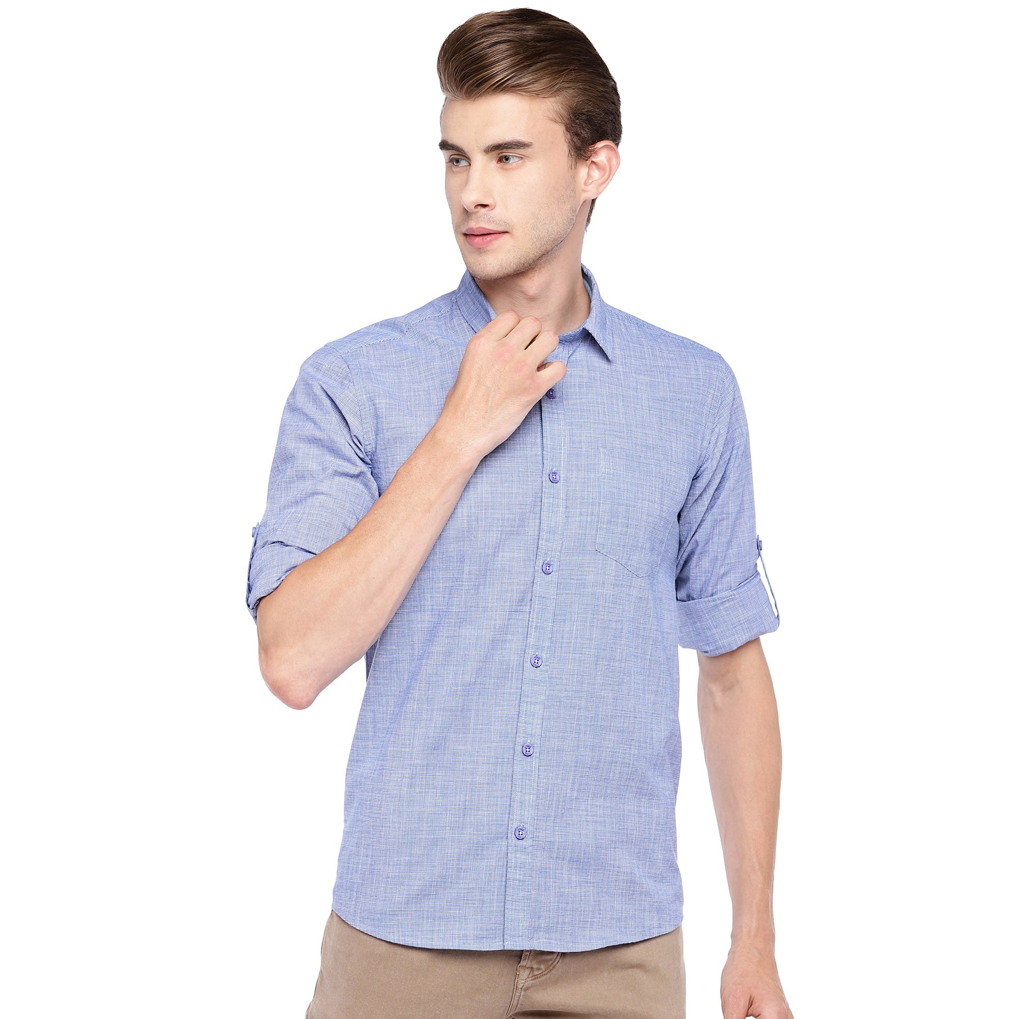 Blue Regular Fit Solid Casual Shirt-1