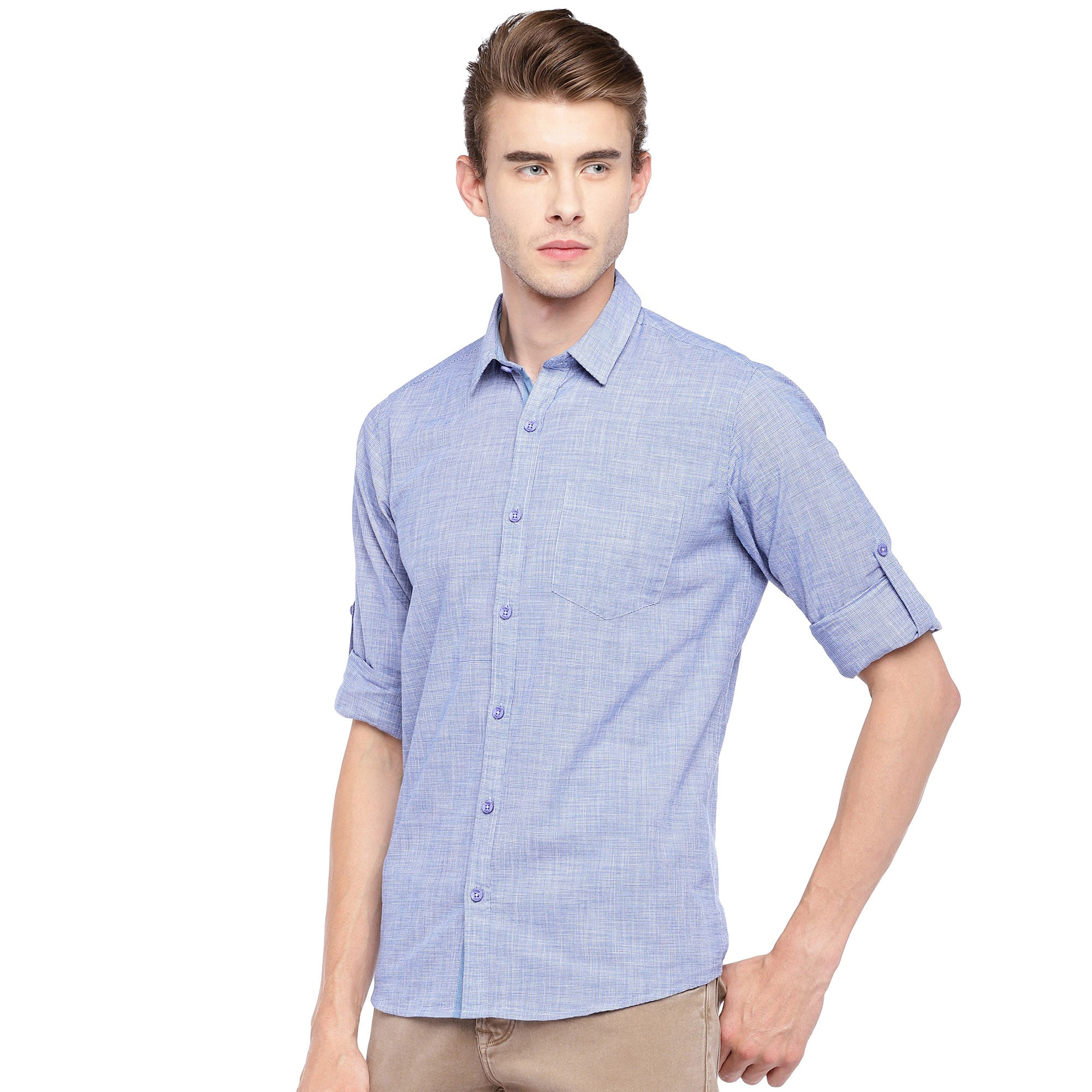 Blue Regular Fit Solid Casual Shirt-2