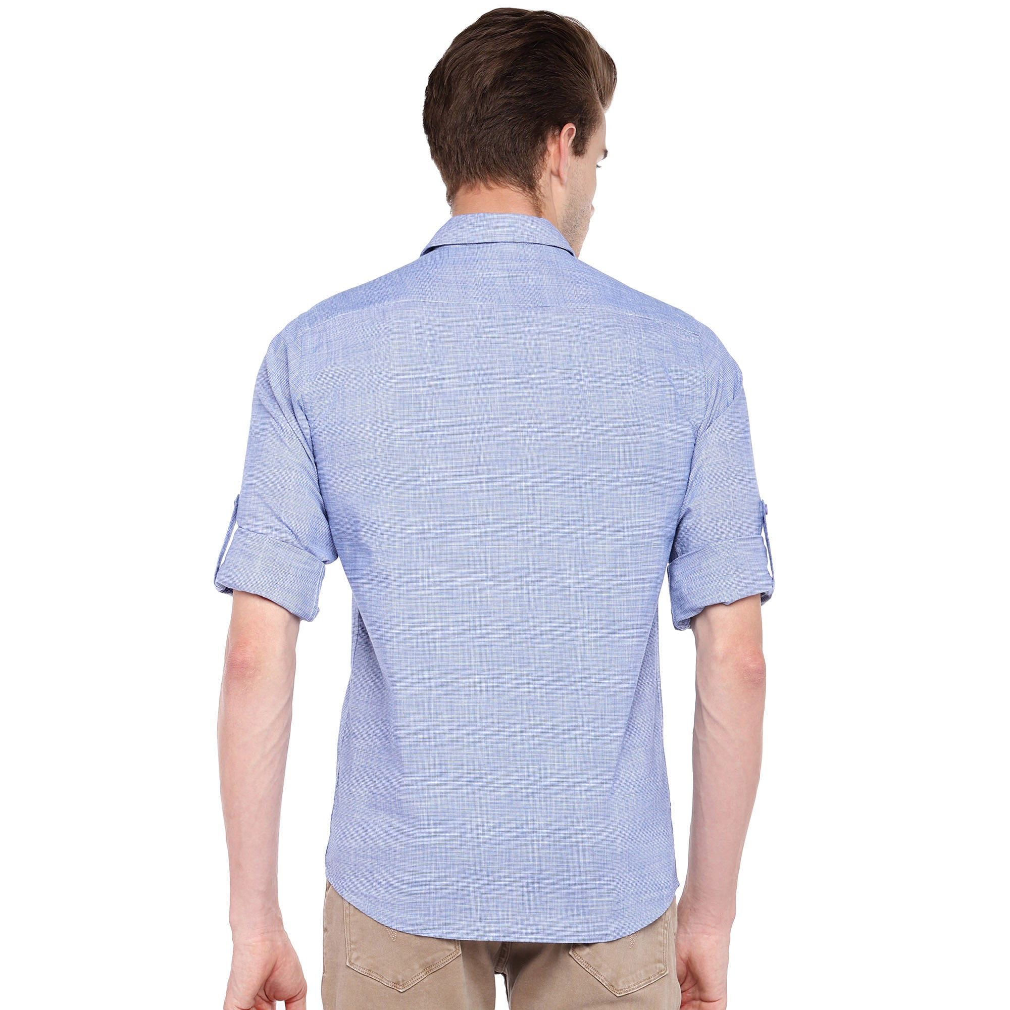 Blue Regular Fit Solid Casual Shirt-3