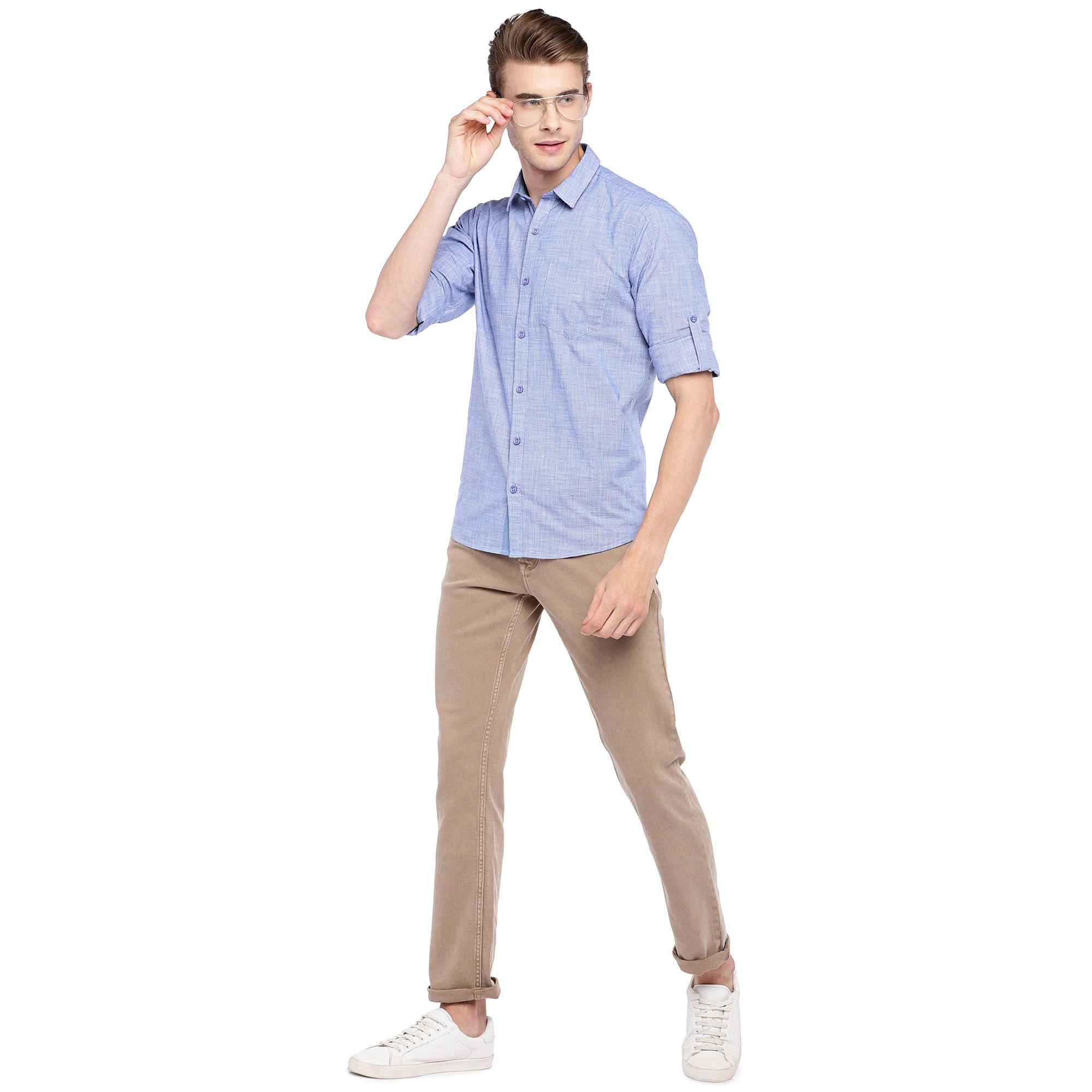 Blue Regular Fit Solid Casual Shirt-4