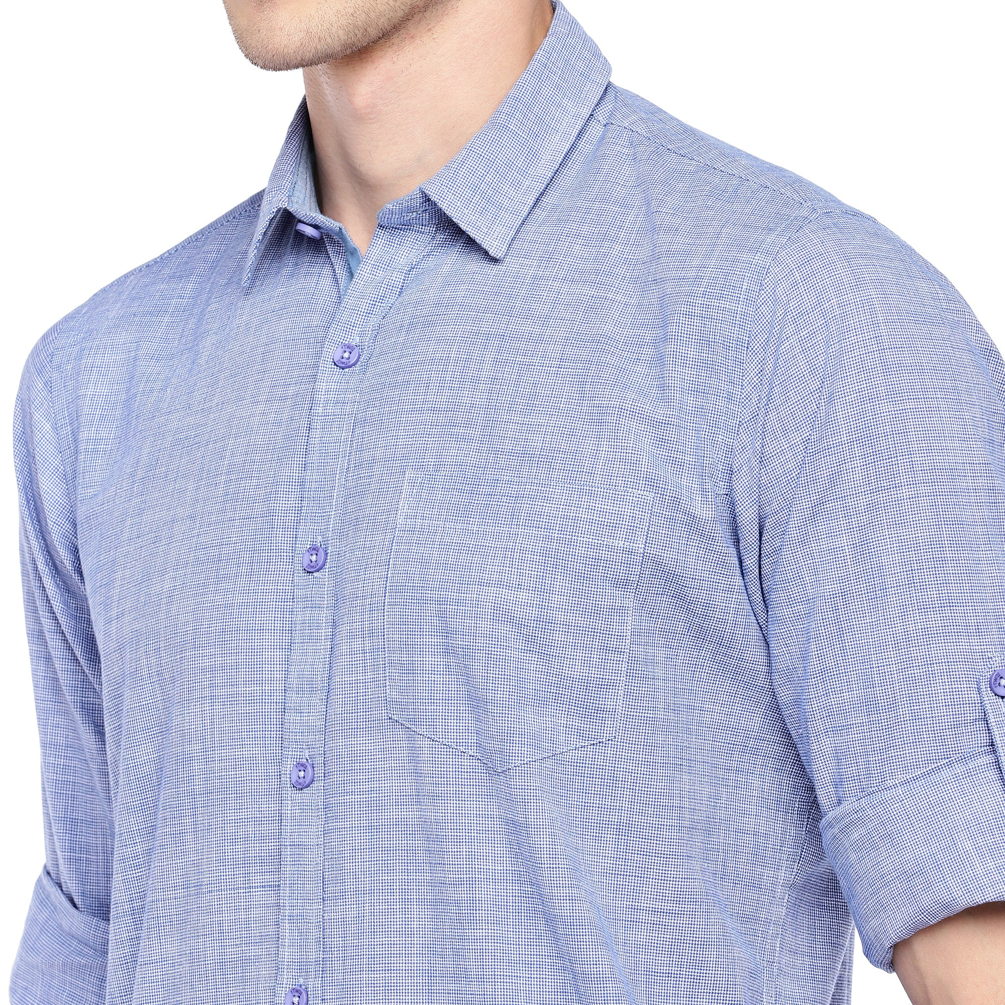 Blue Regular Fit Solid Casual Shirt-5