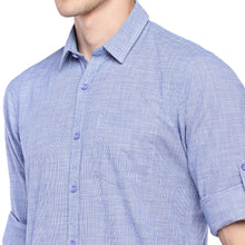 Load image into Gallery viewer, Blue Regular Fit Solid Casual Shirt-5