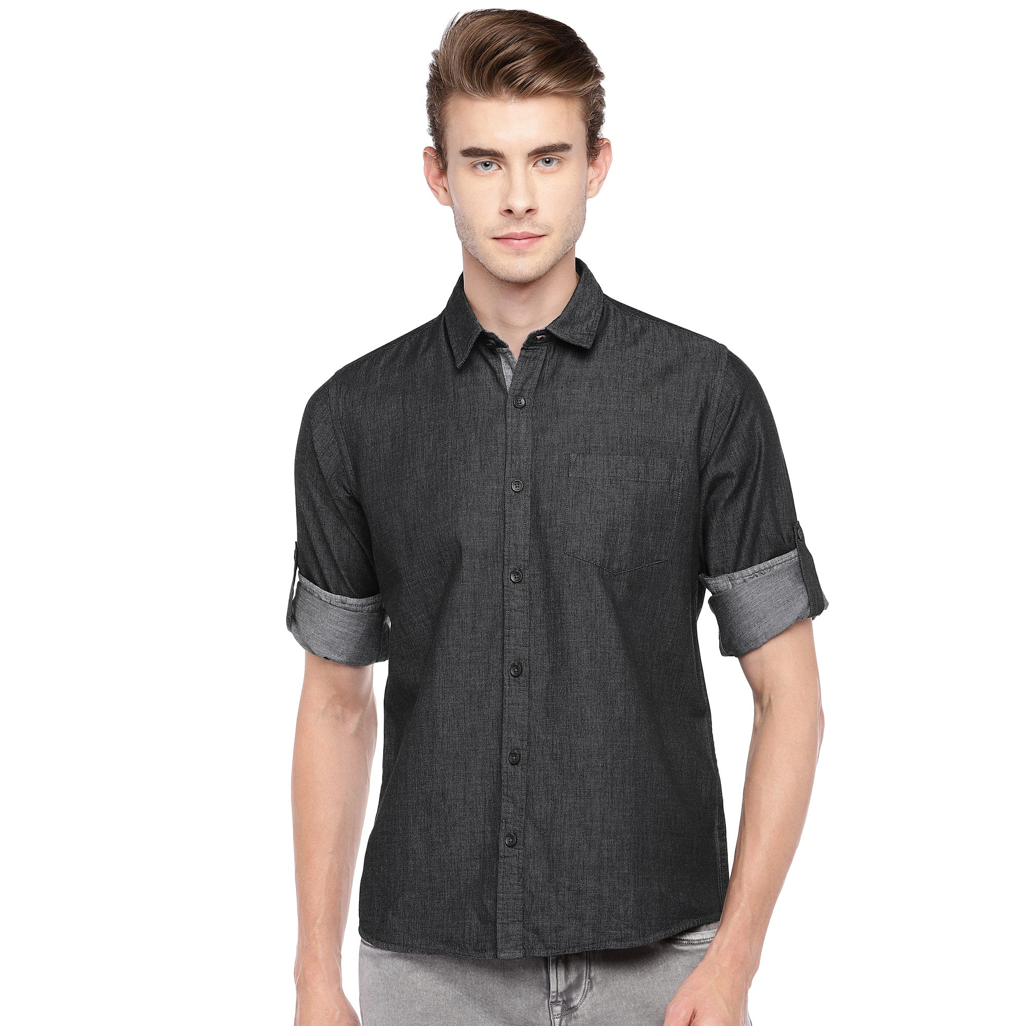 Charcoal Grey Regular Fit Solid Casual Shirt-1