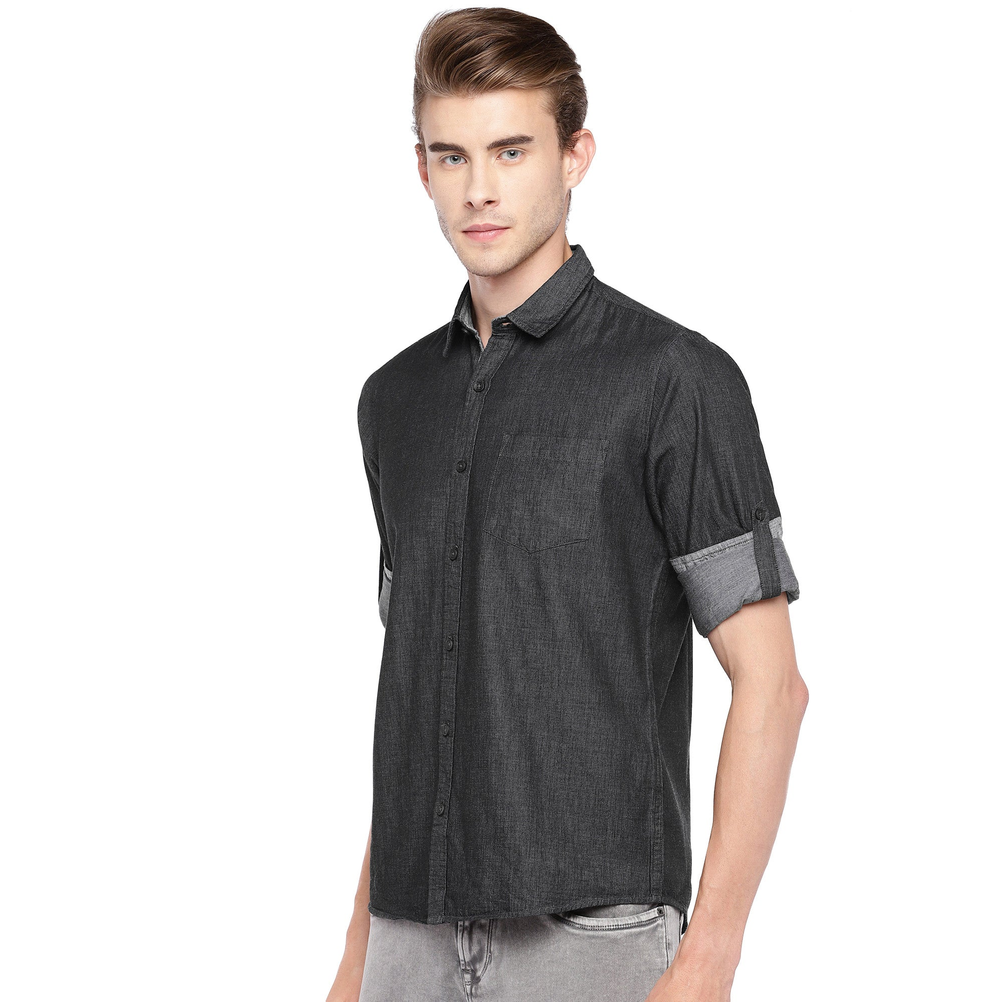 Charcoal Grey Regular Fit Solid Casual Shirt-2