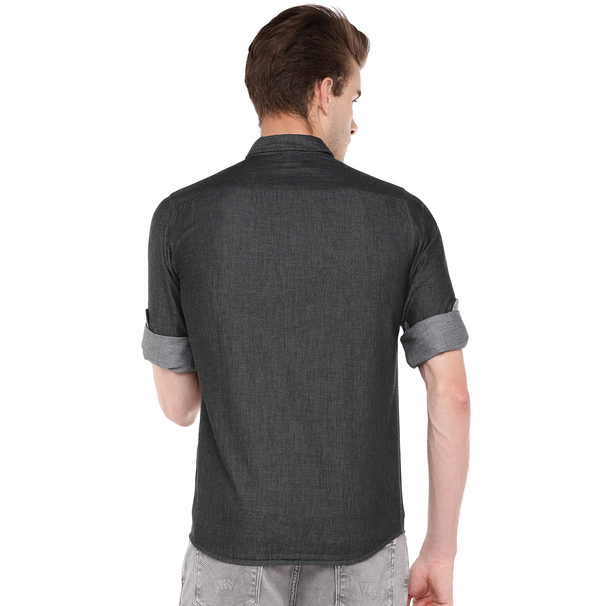 Charcoal Grey Regular Fit Solid Casual Shirt-3