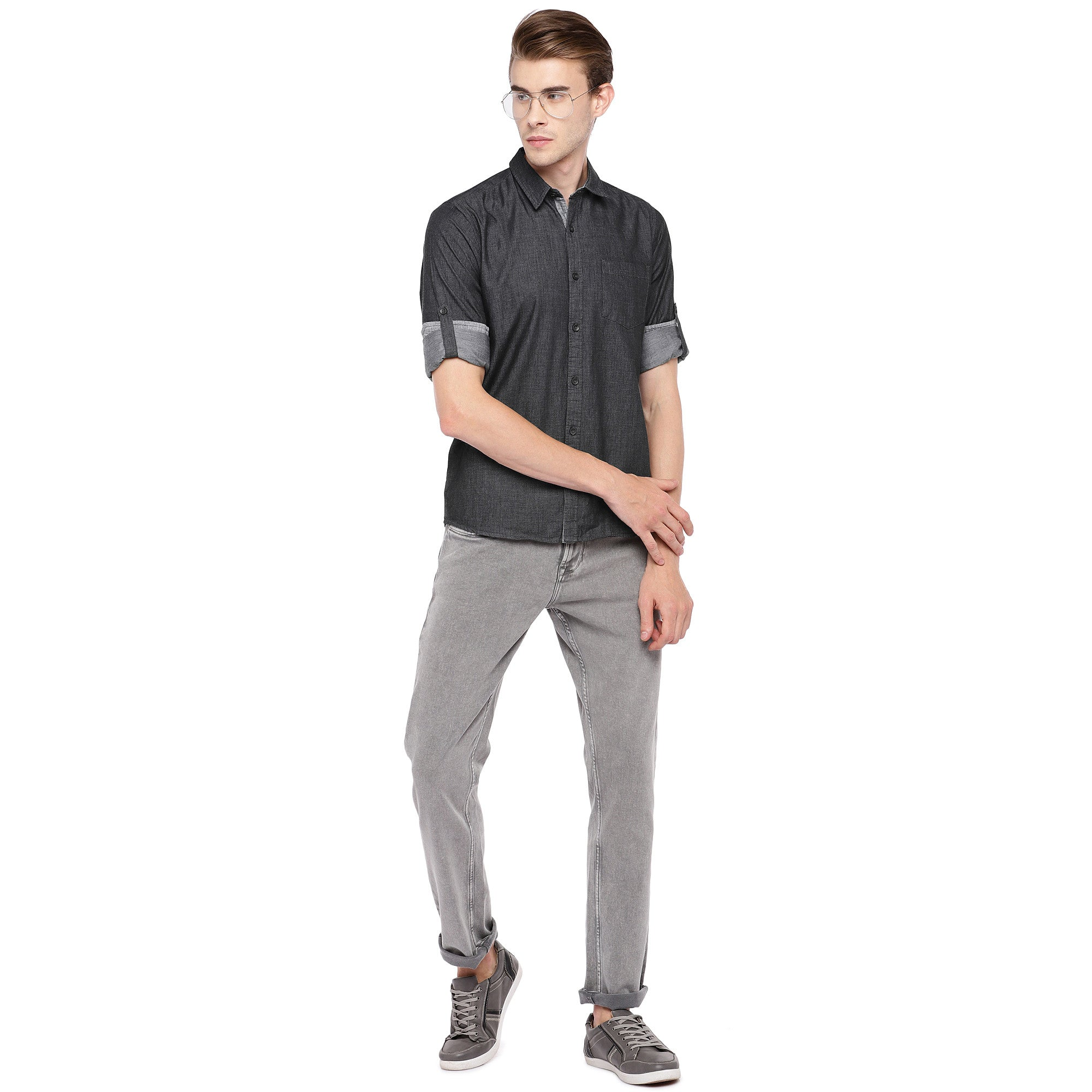 Charcoal Grey Regular Fit Solid Casual Shirt-4