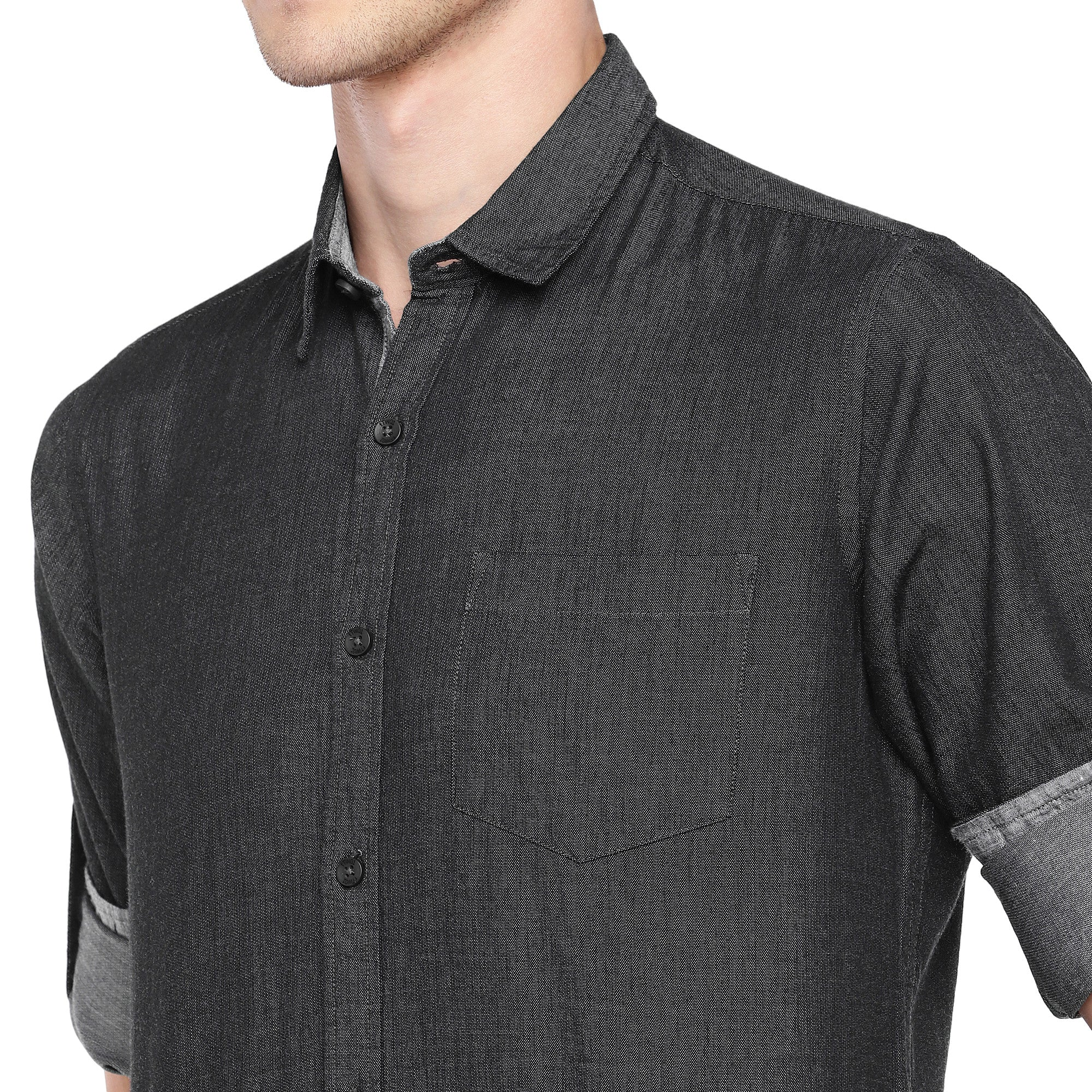 Charcoal Grey Regular Fit Solid Casual Shirt-5
