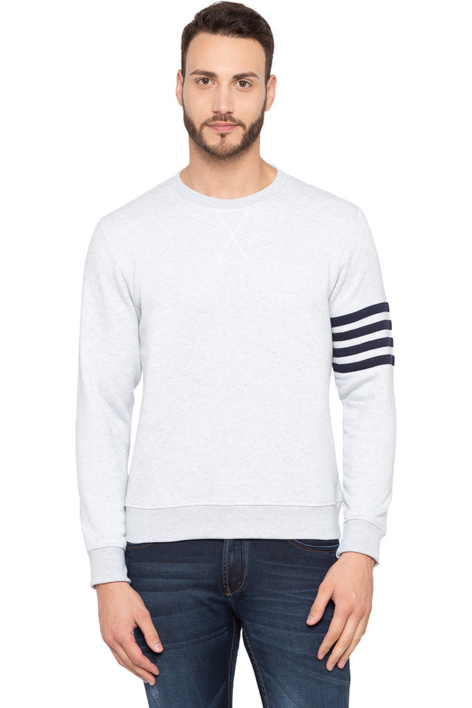 Ecru Melange Arm Band Sweatshirt-1