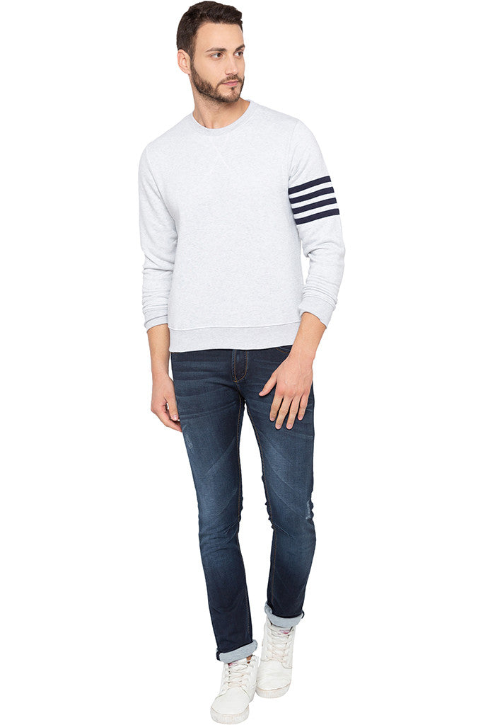 Ecru Melange Arm Band Sweatshirt-2