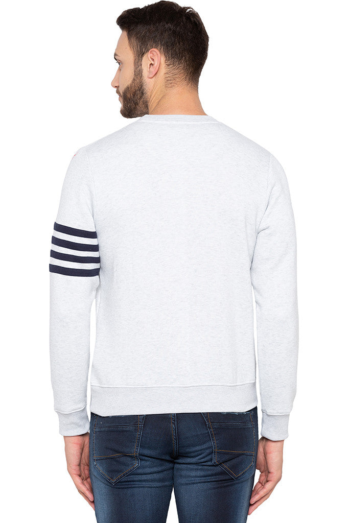 Ecru Melange Arm Band Sweatshirt-3
