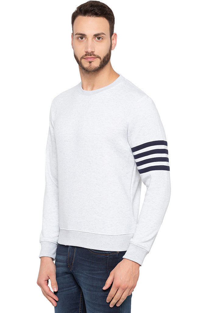 Ecru Melange Arm Band Sweatshirt-4