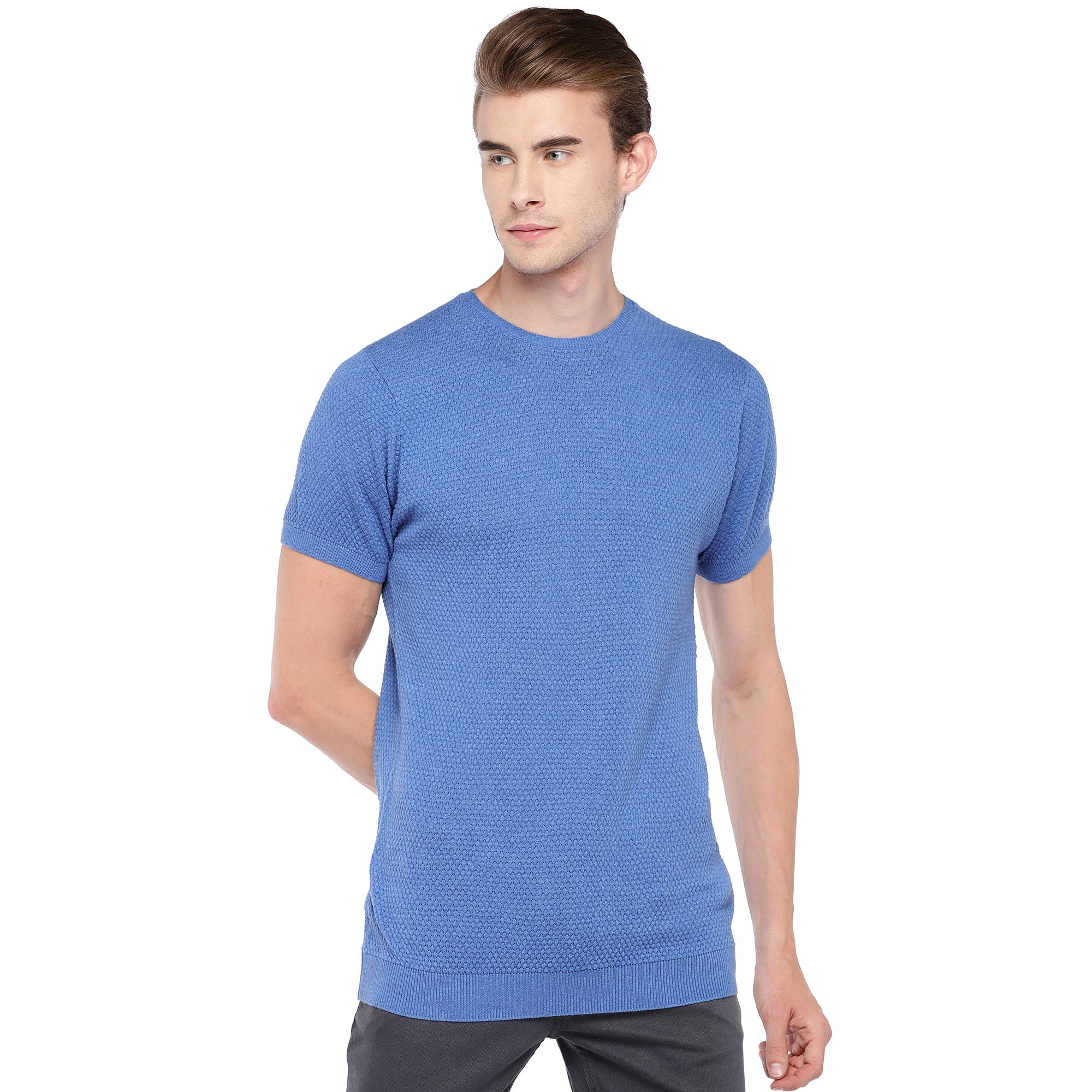 Blue Self Design Round Neck T-shirt-1