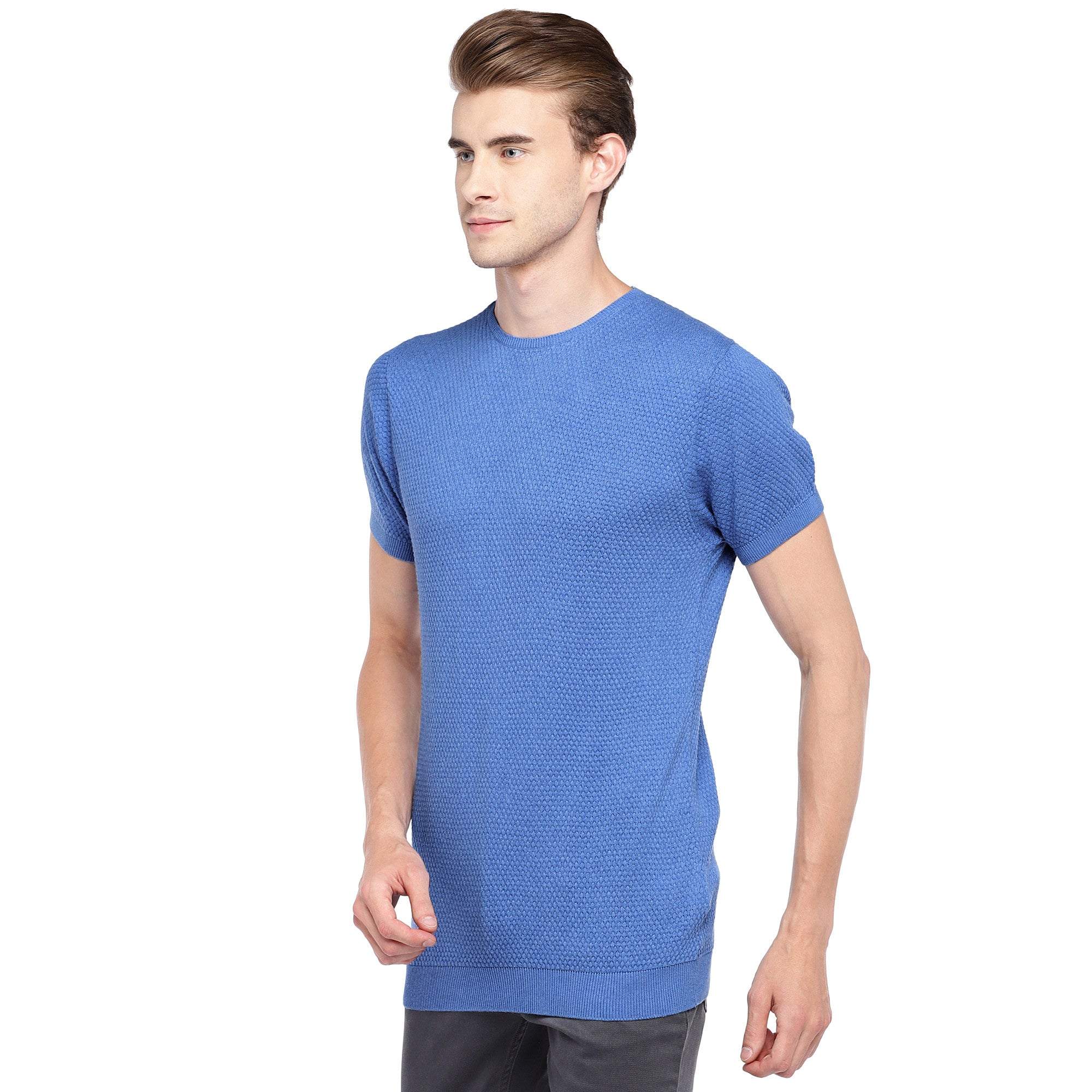 Blue Self Design Round Neck T-shirt-2