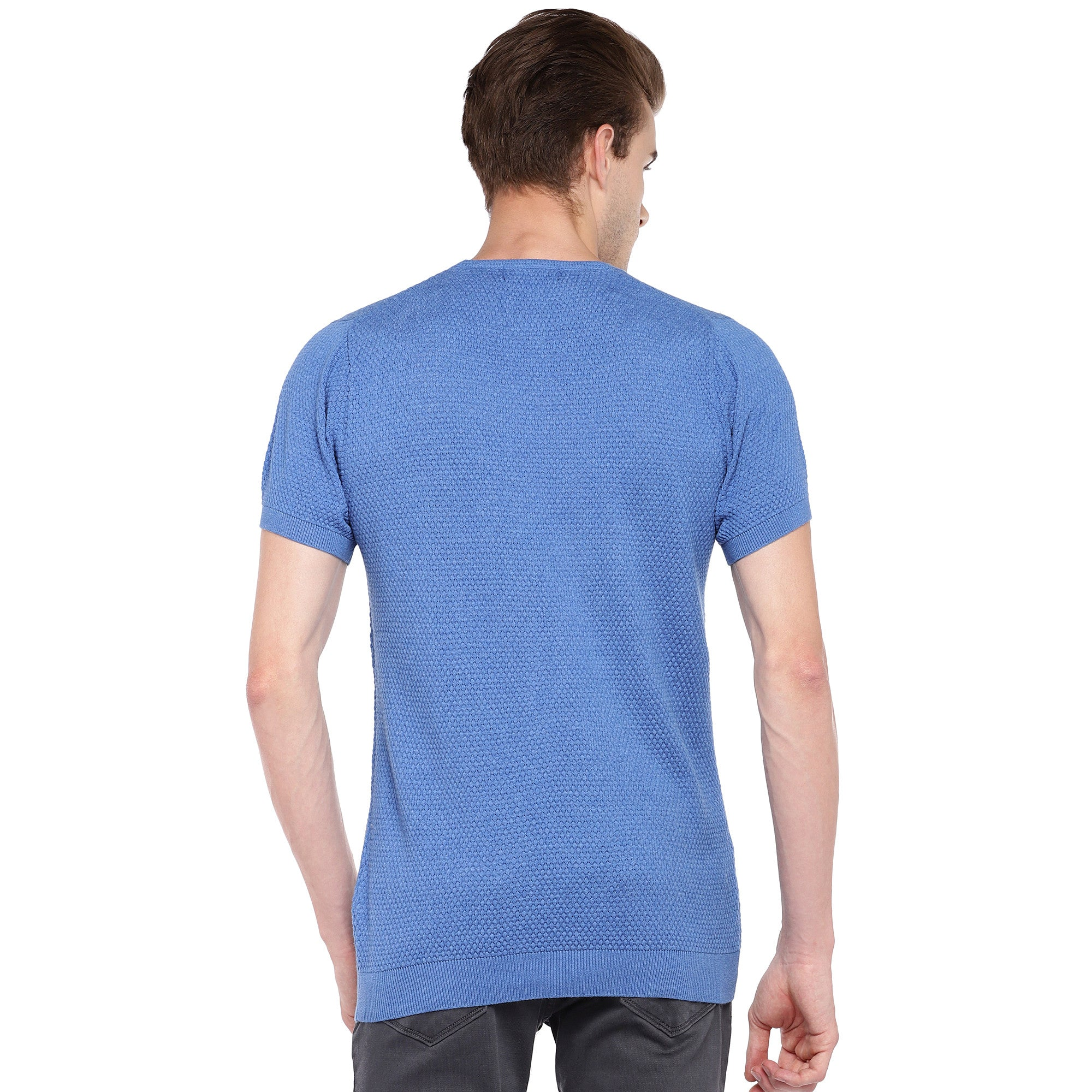 Blue Self Design Round Neck T-shirt-3