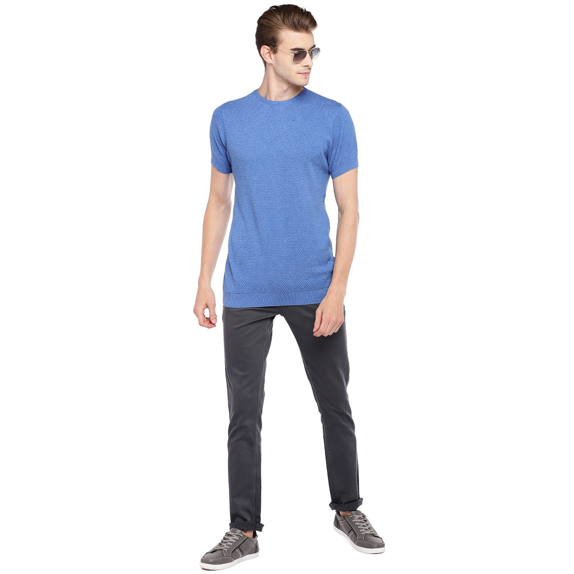 Blue Self Design Round Neck T-shirt-4