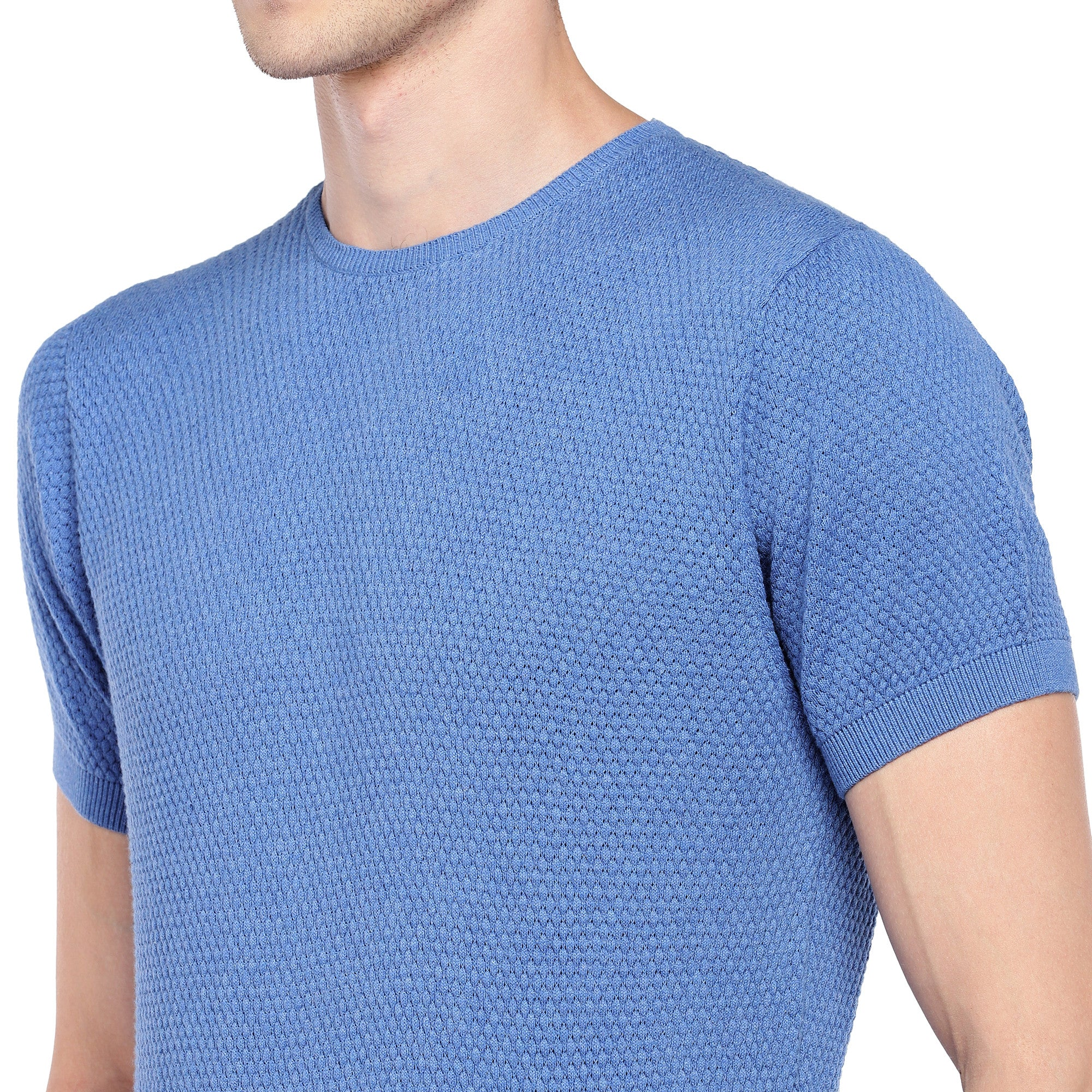 Blue Self Design Round Neck T-shirt-5