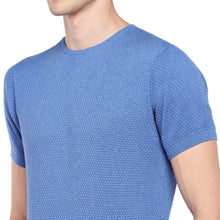 Load image into Gallery viewer, Blue Self Design Round Neck T-shirt-5
