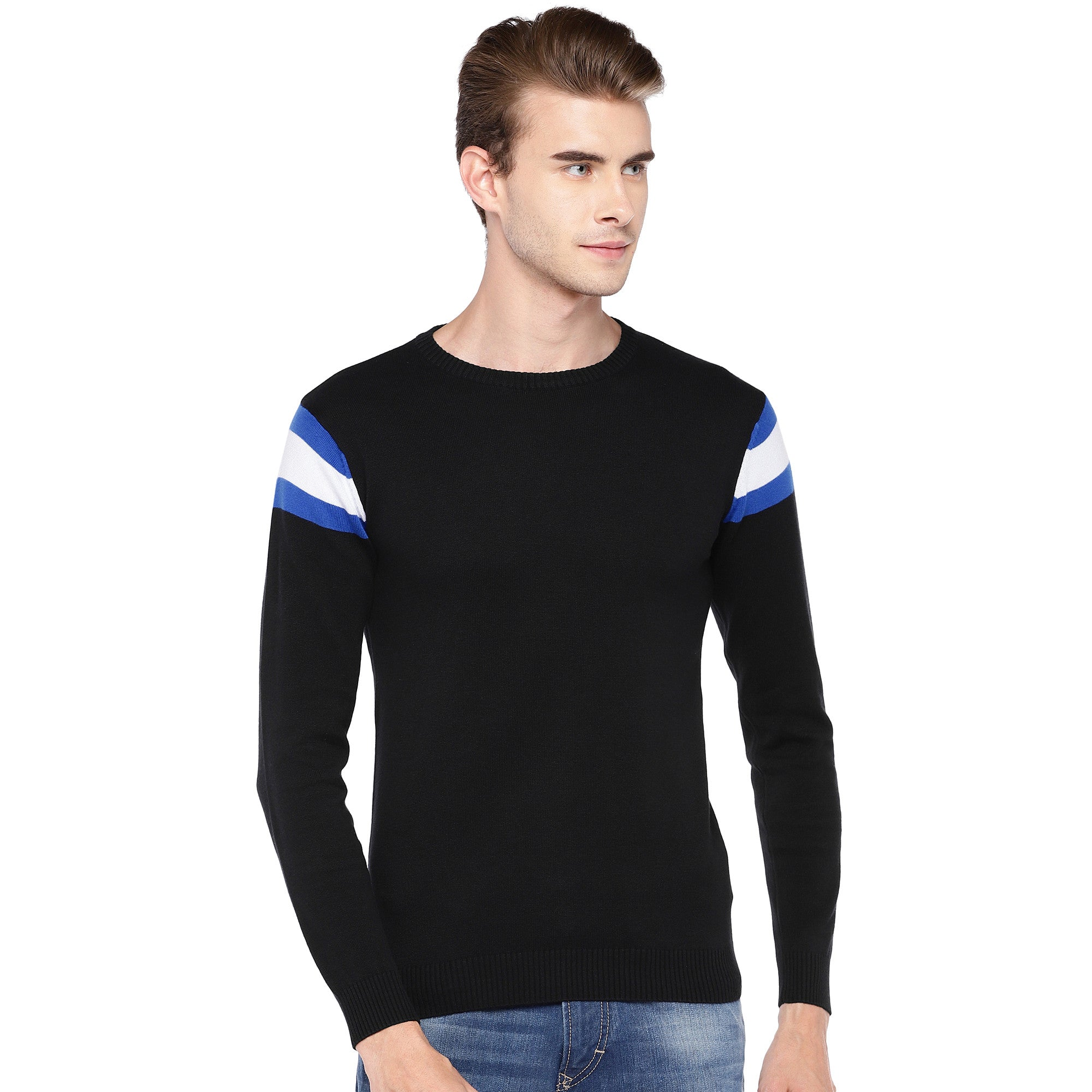 Black Solid Round Neck T-shirt-1