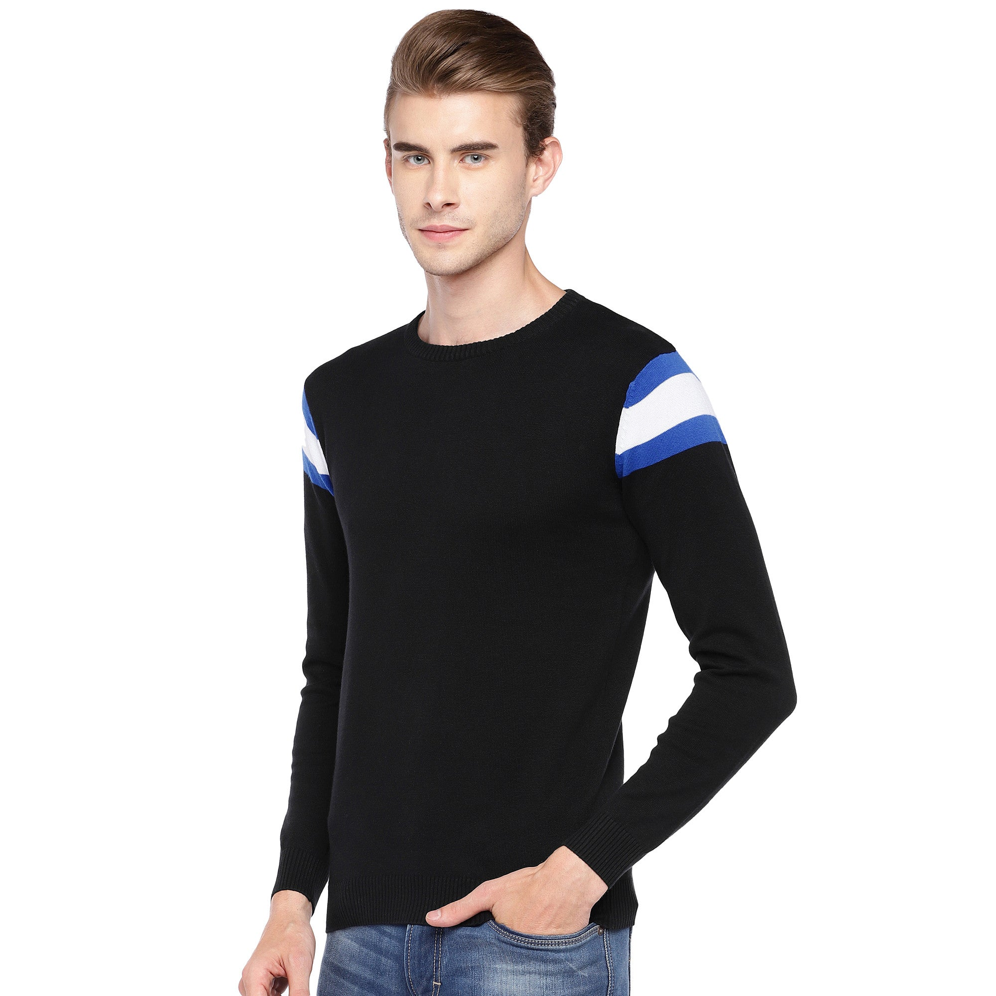 Black Solid Round Neck T-shirt-2