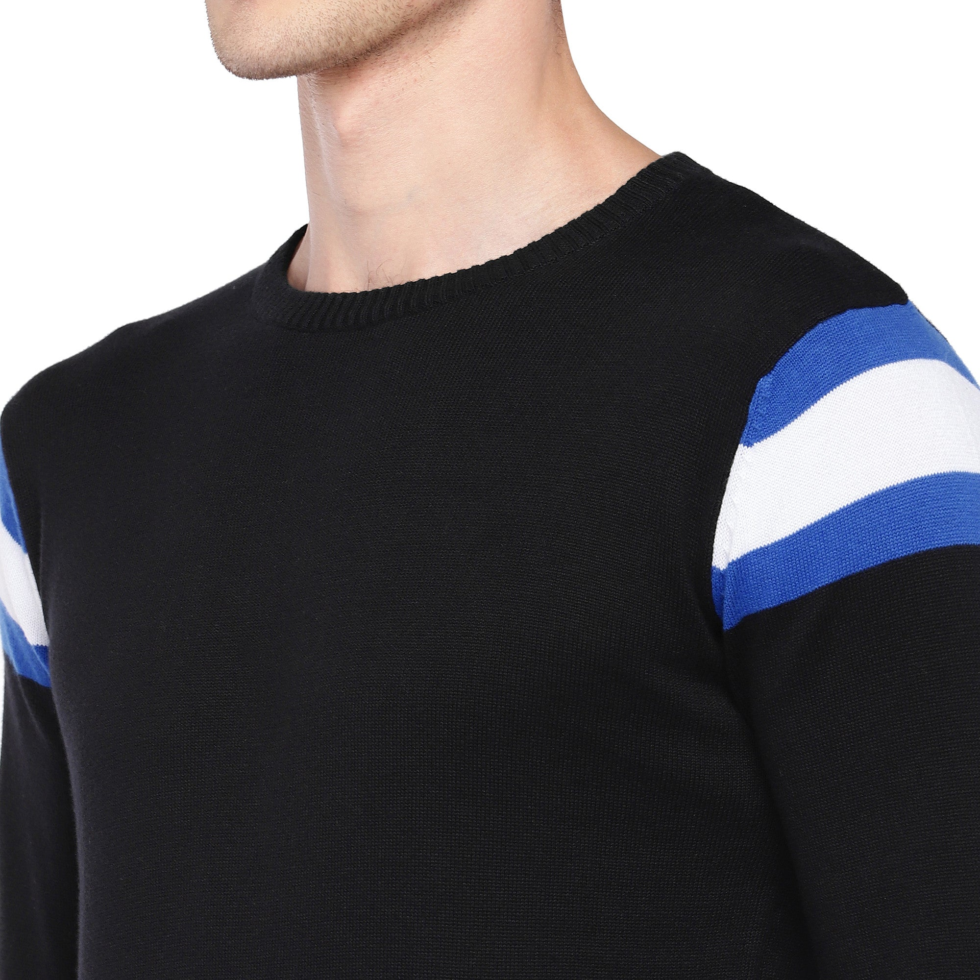 Black Solid Round Neck T-shirt-5