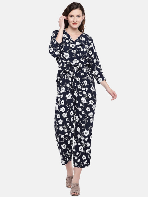 Navy Blue & White Floral Jumpsuit-1