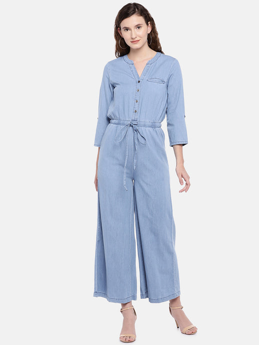 Blue Solid Basic Jumpsuit-1