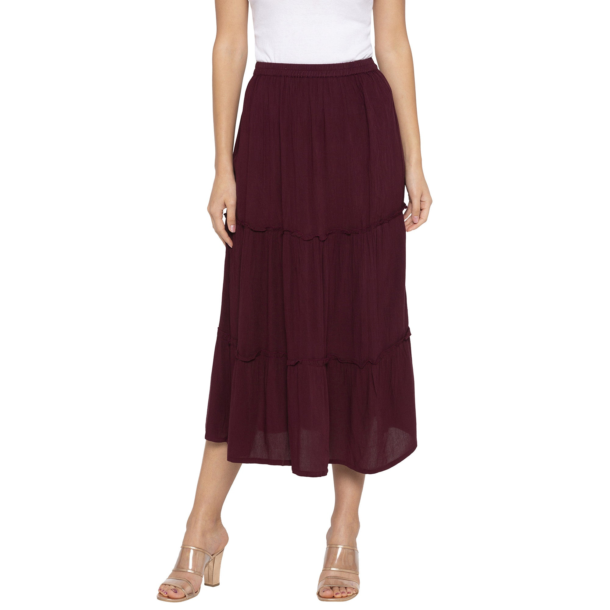 Burgundy Solid Skirts-1