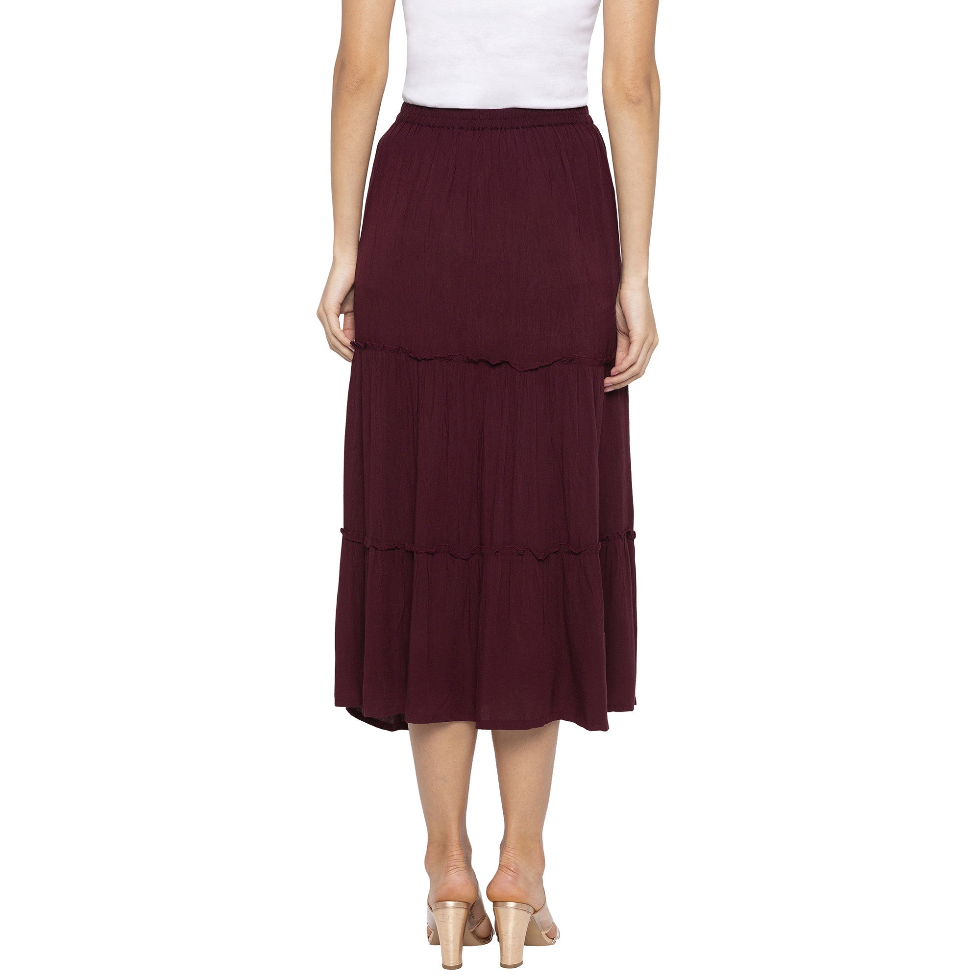 Burgundy Solid Skirts-3