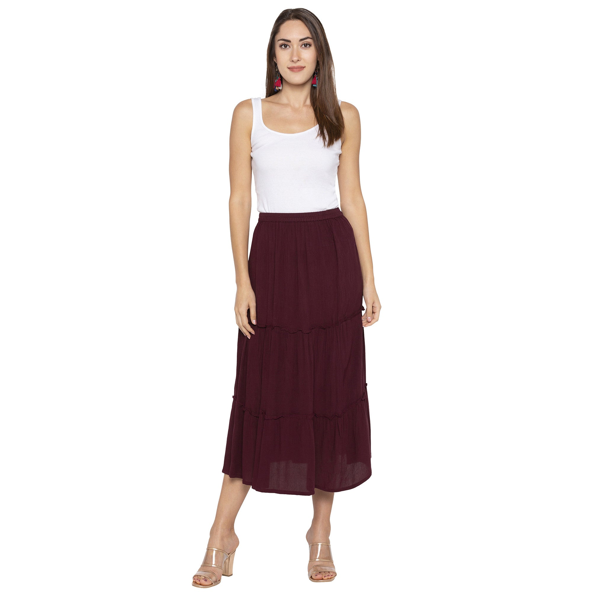 Burgundy Solid Skirts-4