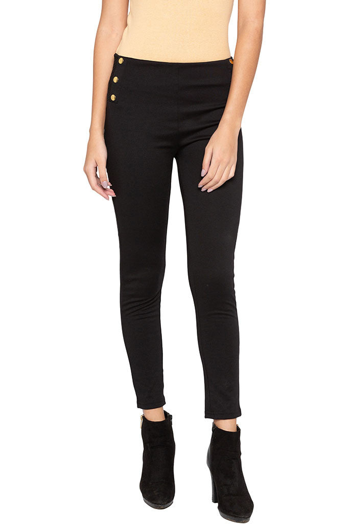 Solid Button Broad Waistband Jeggings-1