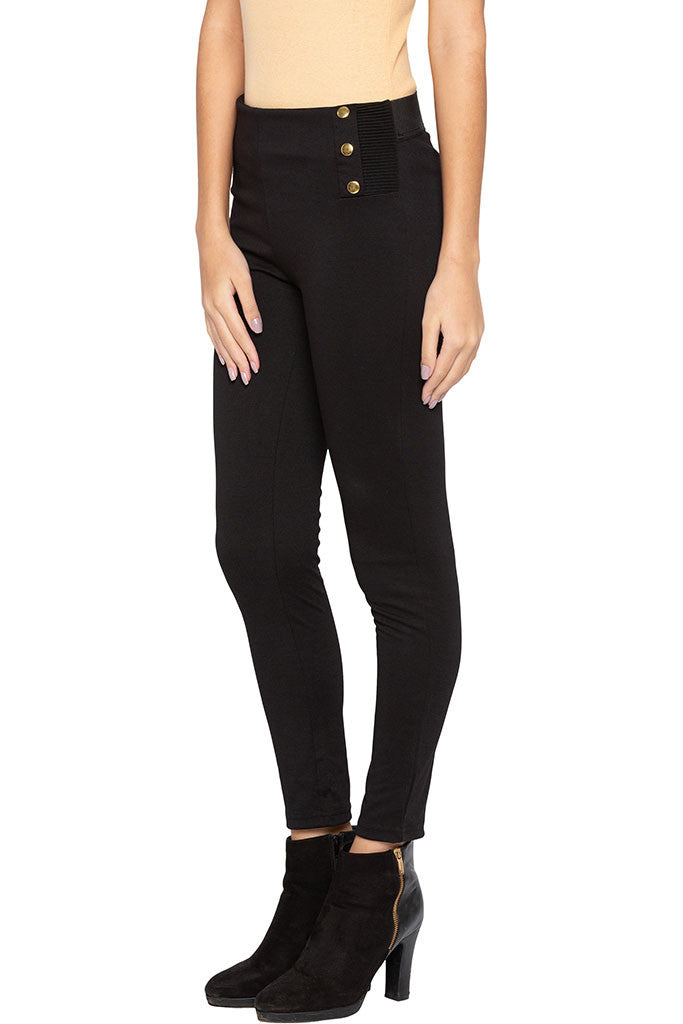 Solid Button Broad Waistband Jeggings-4