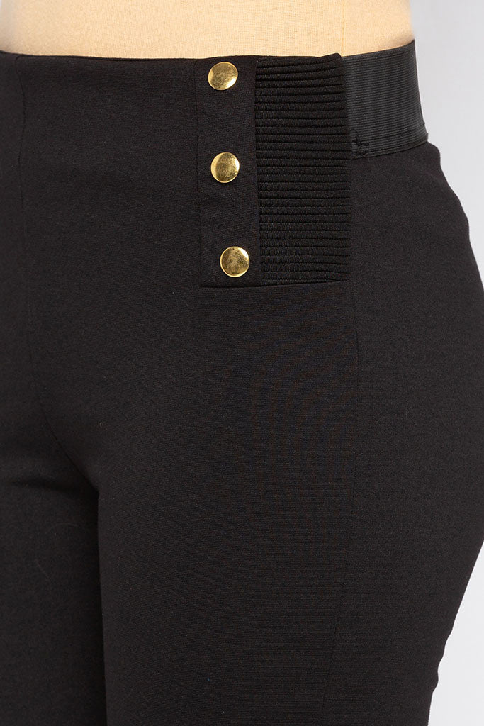 Solid Button Broad Waistband Jeggings-5