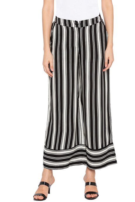 White Striped Flared Trousers-1