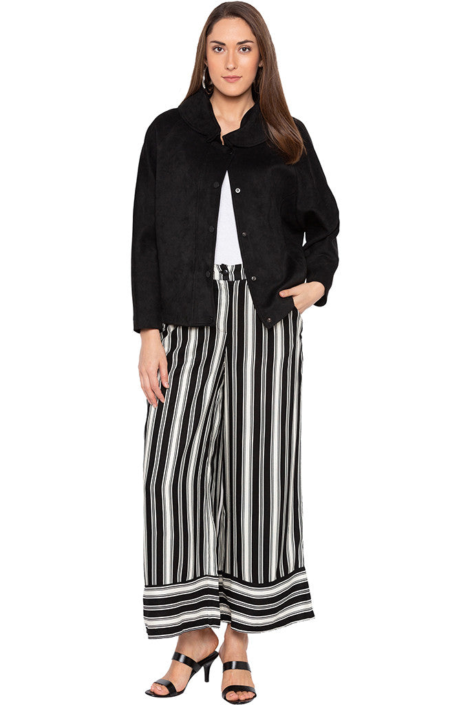 White Striped Flared Trousers-2