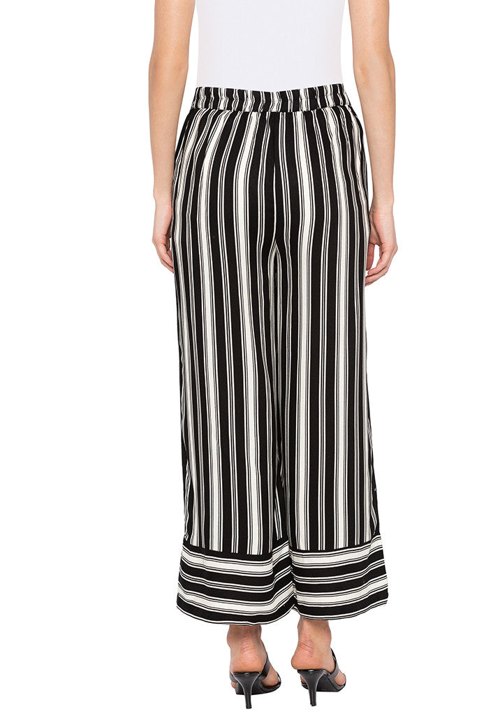 White Striped Flared Trousers-3