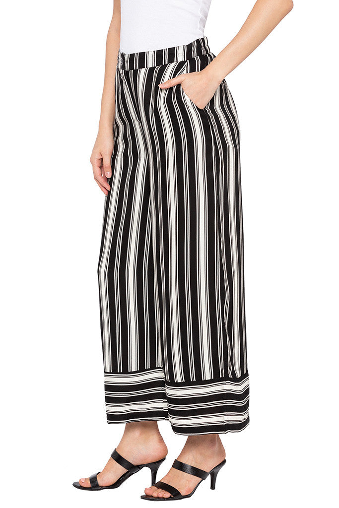 White Striped Flared Trousers-4