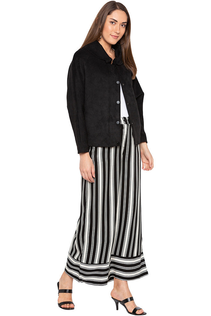 White Striped Flared Trousers-6