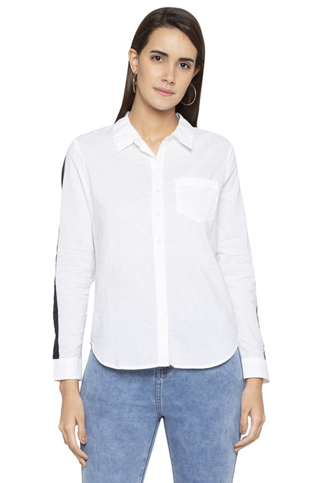 Contrast Piping Sleeved Shirt-1