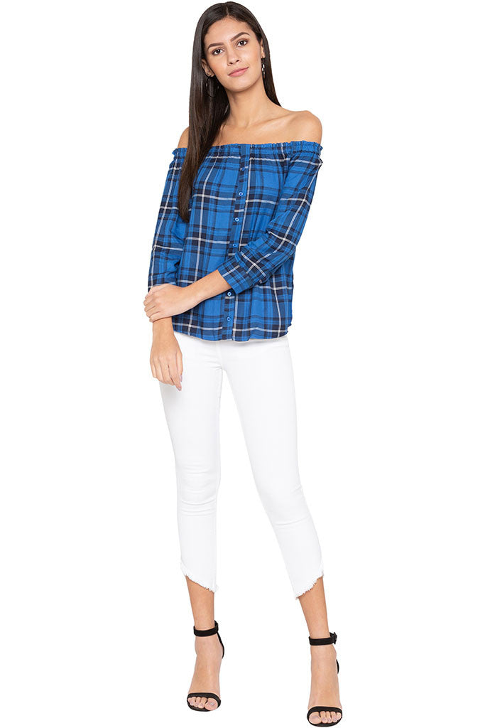 Checked Off Shoulder Top-2
