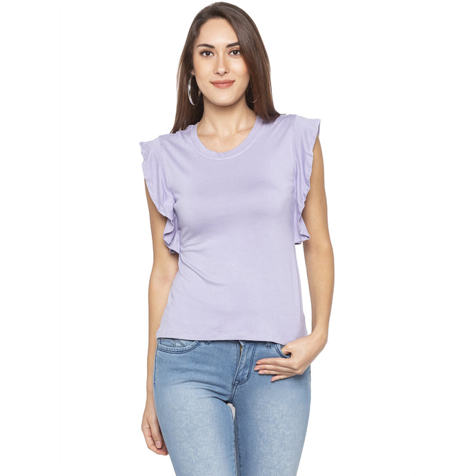 Casual Purple Color Solid Regular Fit Tops-1