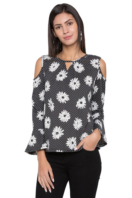 Floral Print Bell Sleeve Top-1
