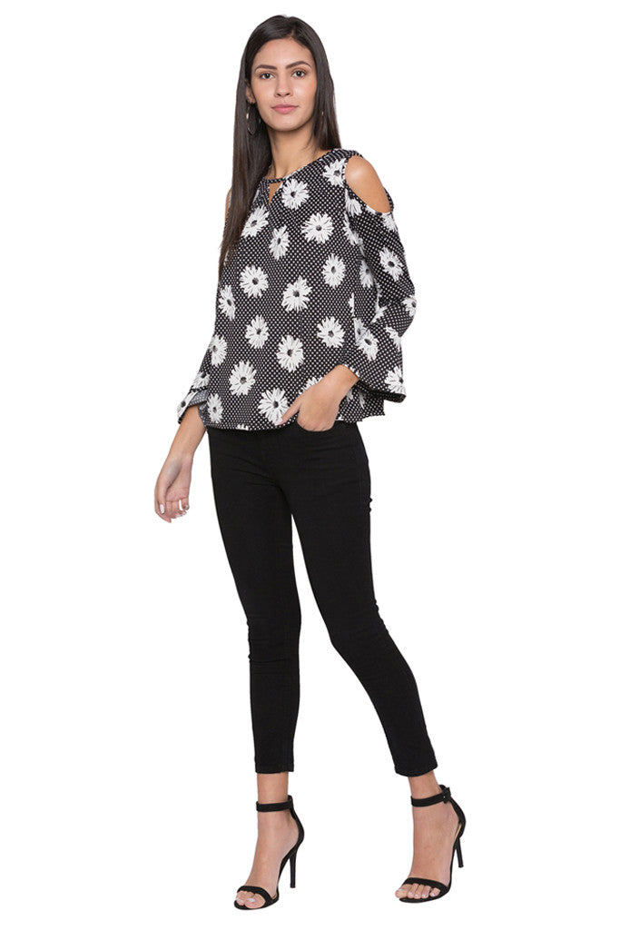Floral Print Bell Sleeve Top-2