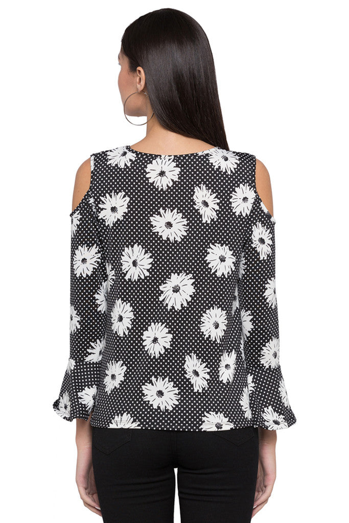 Floral Print Bell Sleeve Top-3