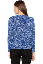 Load image into Gallery viewer, Blue Lace Insert Front Tie Up Top-3