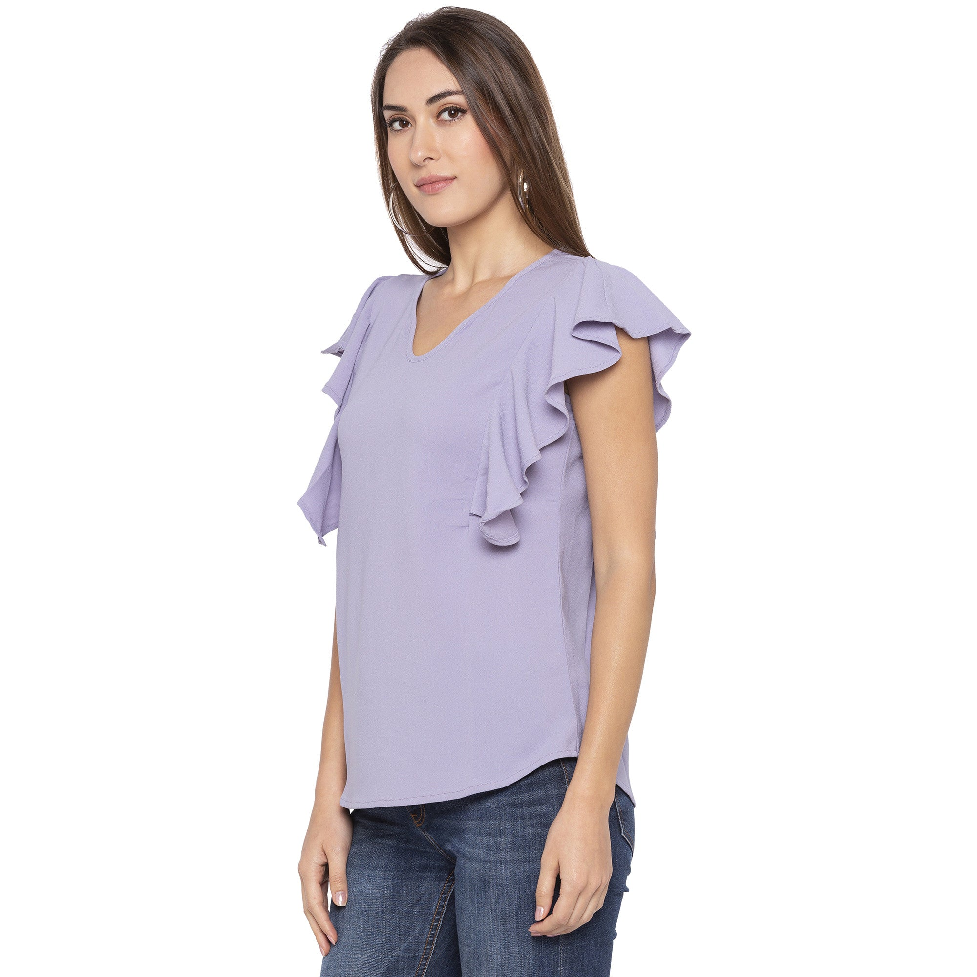 Casual Purple Color Solid Regular Fit Tops-2
