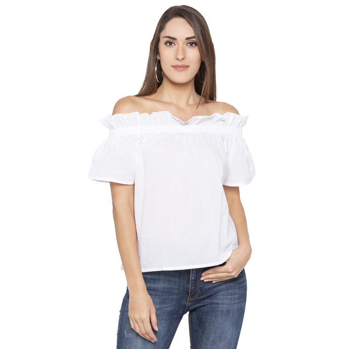 Casual White Color Solid Regular Fit Tops-1