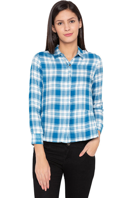 Checked Boxy Fit Petrol Shirt-1